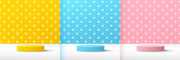 Set of abstract 3d yellow blue pink cylinder pedestal podium wiith pastel and white polka dot scene