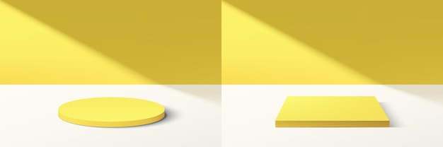 Set of abstract 3d yellow cylinder and cube pedestal podium with bright yellow minimal wall scene in shadow. collection of vector rendering geometric platform for cosmetic product display presentation