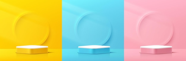 Set of abstract 3d yellow pink blue white round corner cube pedestal podium with circle scene