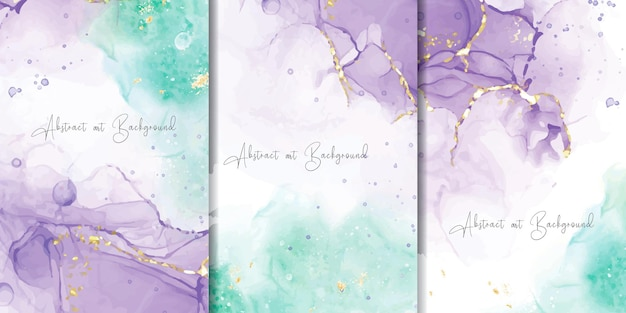 Set of abstract alcohol ink background