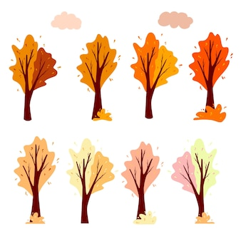 Set abstract autumn tree and cloud. ornamental plant. cartoon style. vector illustration for the design of postcards, banners.