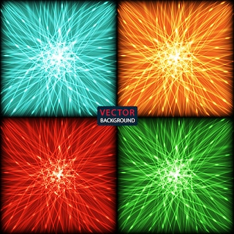 Set abstract background of bright neon colored curves lines with glare.