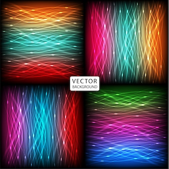 Set abstract background of bright neon colorful curves lines with glare. illustration