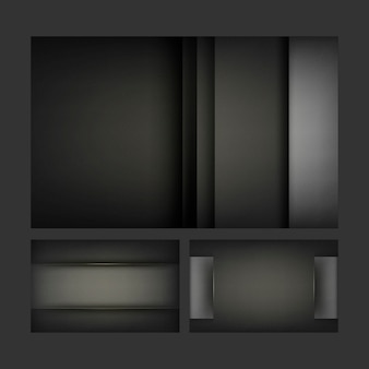 Set of abstract background designs in black