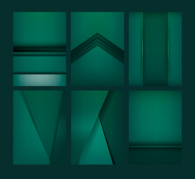 Set of abstract background designs in emerald green