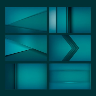 Set of abstract background designs in green