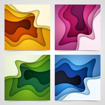 Set of abstract background and paper cut shapes