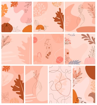 Set of abstract background with autumn elements, shapes and plants in one line style