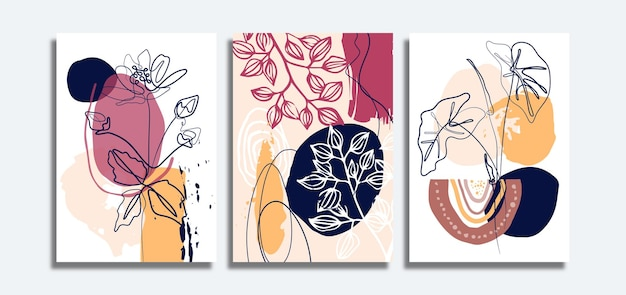Set of abstract background with floral line art