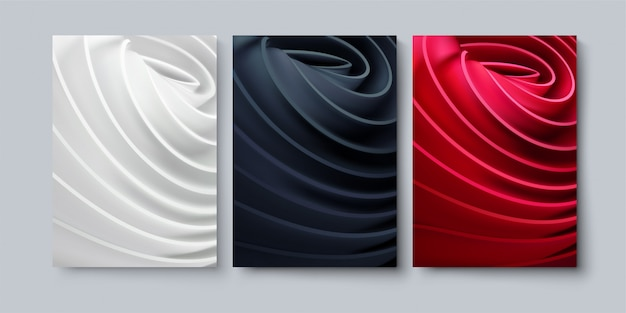 Set of abstract background with rolled cloth shapes.