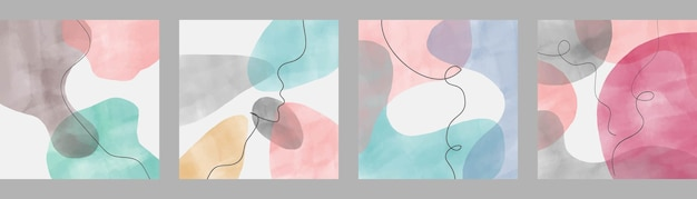 Set of abstract backgrounds. minimalistic geometric frames hand painted for postcard, social media banner or brochure cover design background. vector illustration