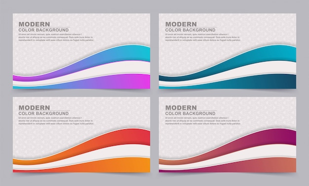 Set abstract banner background with gradient colors