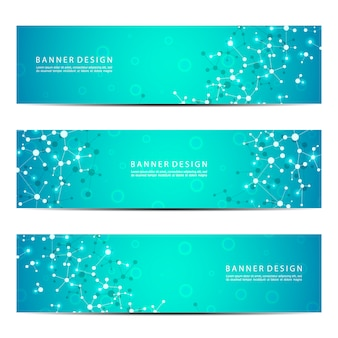 Set of abstract banner design, dna molecule structure