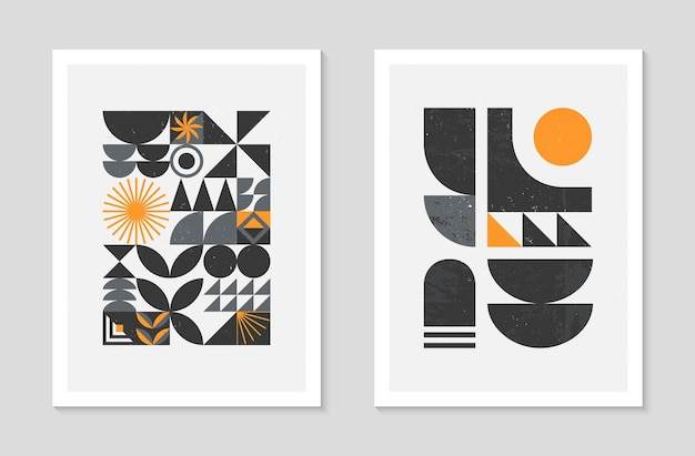 Set of abstract bauhaus geometric pattern backgrounds.trendy minimalist geometric design with simple shapes and elements.mid century modern artistic vector illustrations.scandinavian ornament.