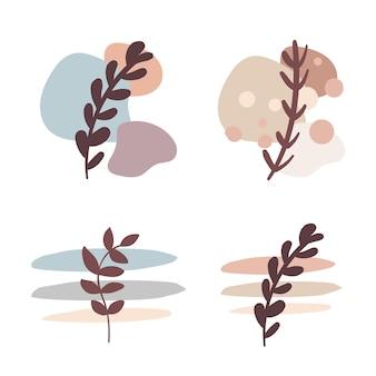 새싹과 잎으로 추상 베이지색 장식을 설정합니다. 현대적인 파스텔 색상