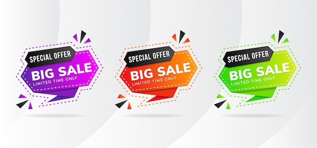Set of abstract big sale element banner design with combination black and any colors gradient