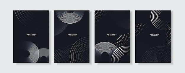 Установите абстрактный черный фон с геометрическими линиями