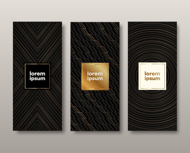 Set of abstract black and gold banners.