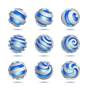Set of  abstract  blue sphere element