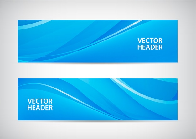 Set of abstract blue wavy headers, water flow banners.