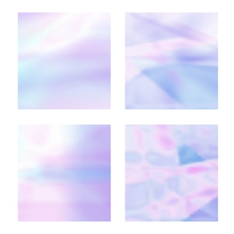Set of abstract blurred holographic backgrounds in pastel light colors