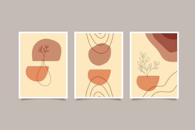 Set of abstract boho contemporary cover wall art