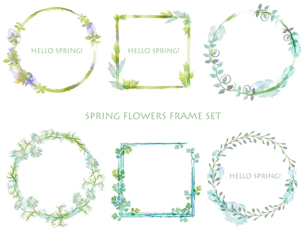 Set of abstract botanical frames isolated on a white