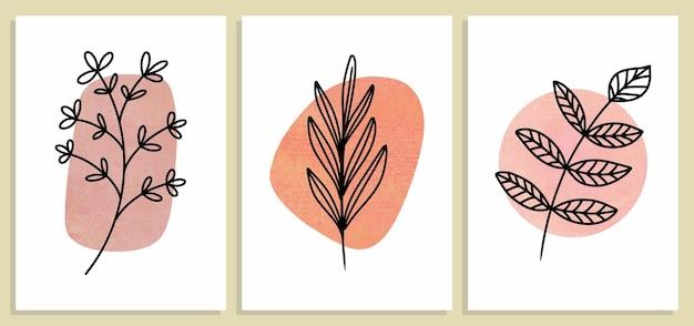 Set of abstract botanical wall art, abstract leaves, boho branch botanical art