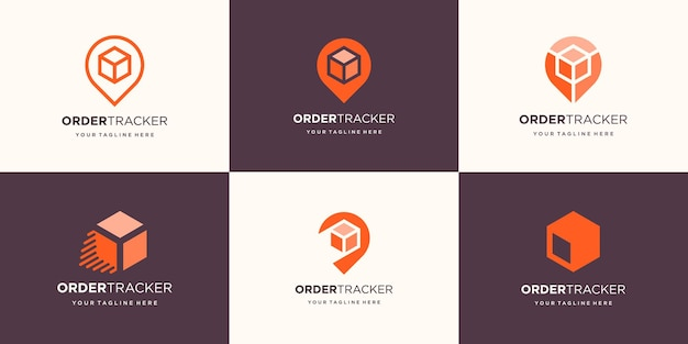 Set of abstract box with pin location logo design.