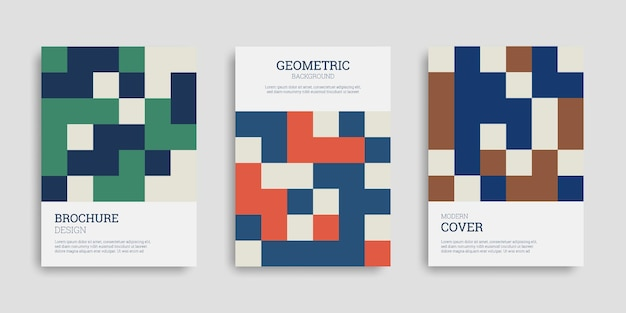 Set of abstract business covers with geometric shapes