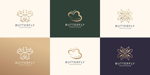 Set of abstract butterfly logo template premium vector
