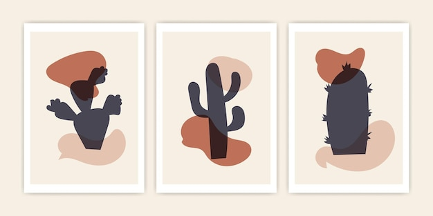 Set of abstract cactus shape. vector abstract cover design.