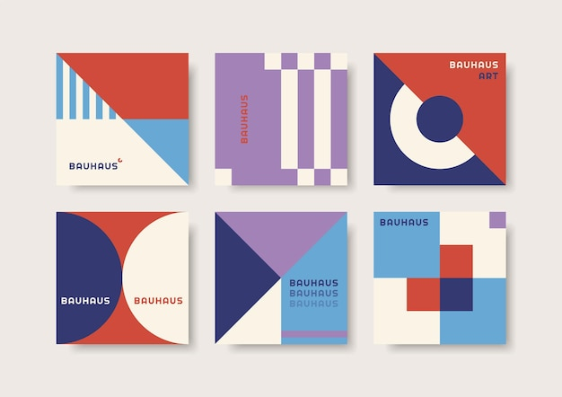 Set of abstract cards with geometric elements