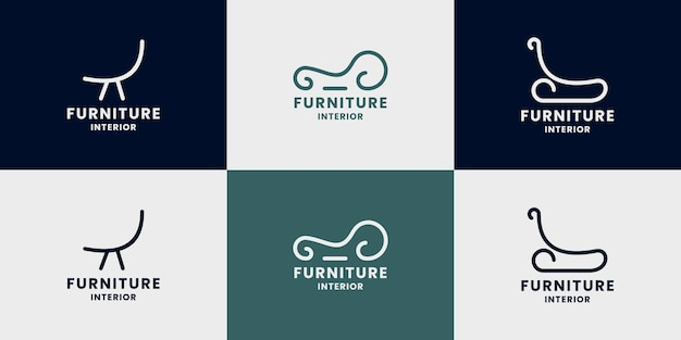 Set of abstract chair logo design for home furniture
