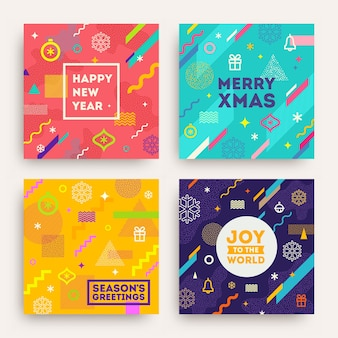 Set of abstract christmas background with multicolored geometric shapes, holiday signs and symbols