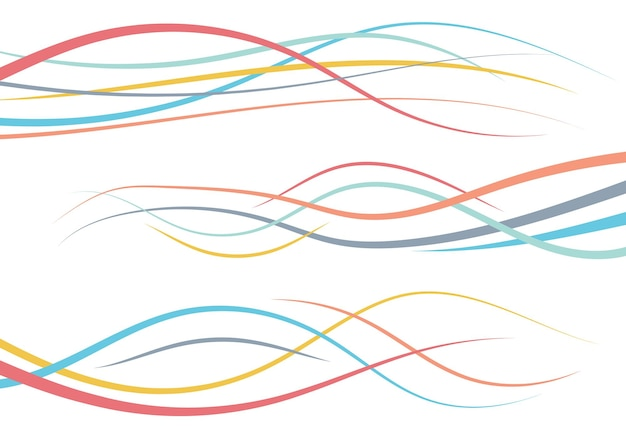 Set of abstract color  curved lines. wave design element. vector illustration.