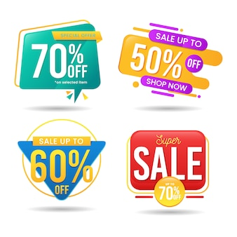 Set of abstract colorful banner sale vector