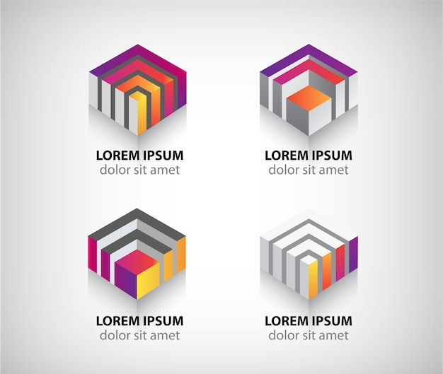 Set of  abstract colorful geometric cube logos