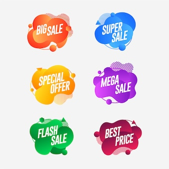 Set abstract colorful liquid geometric sale banner