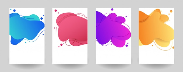Set abstract colorful liquid geometric shape
