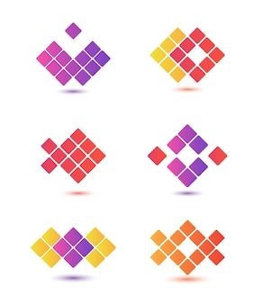 Set of abstract colorful logos isolated