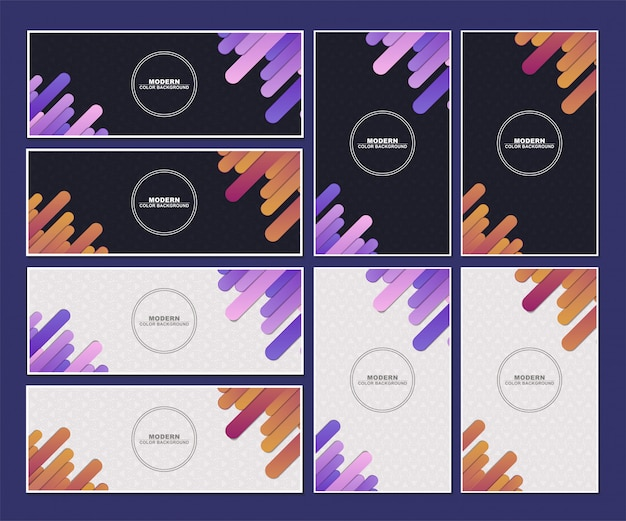Set of abstract colorful minimal banner background