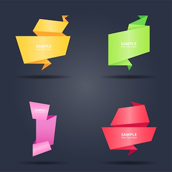 Set of abstract colorful origami paper banners style