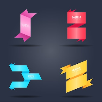 Set of abstract colorful ribbons banners design