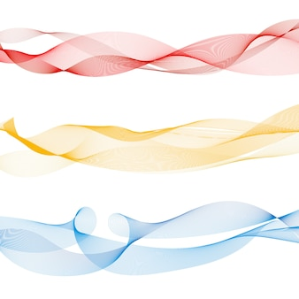 Set of abstract colorful smooth wave lines