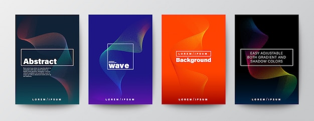Set of abstract colorful wave shape on colors background.