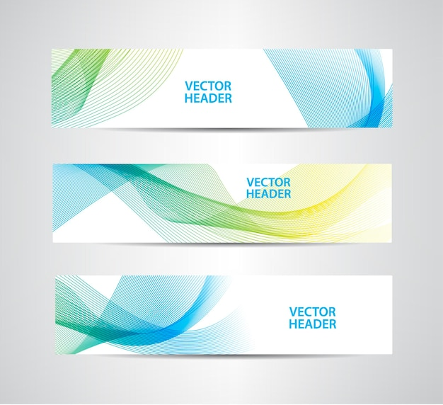 Set of abstract colorful wavy headers