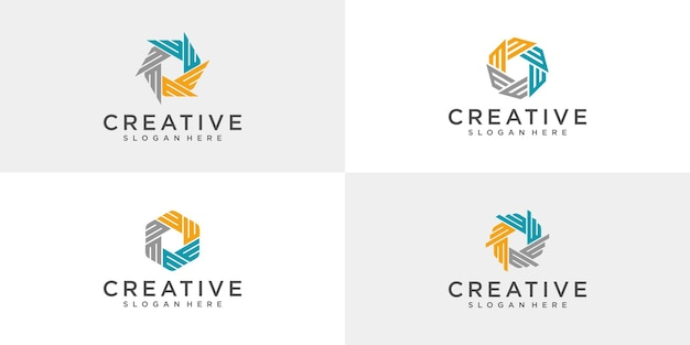 Set of abstract community logo designs.