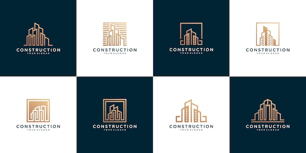 Set of abstract construction building logo templates
