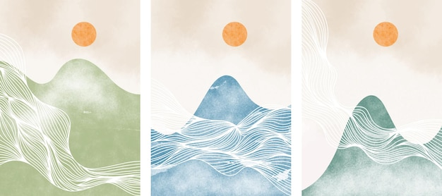 Set  of abstract contemporary aesthetic background with mountain landscape. minimalist design.